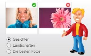Entscheiden Sie, welche Fotos der CEWEFOTOBUCH Assistent bei der automatischen Auswahl bevorzugen soll: Gesichter, Landschaften, oder einfach die besten Fotos?