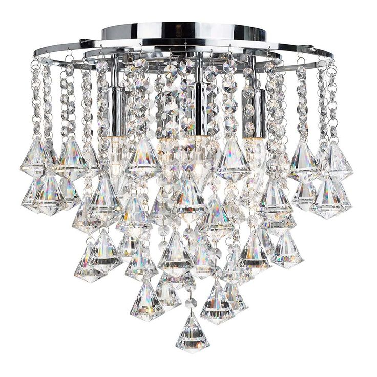 3494-4CC Dorchester 4 Light Flush With Clear Crystal Buttons And Drops