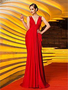 Sheath/Column V-neck Sweep/Brush Train Jersey Evening Dress ... – USD $ 149.99