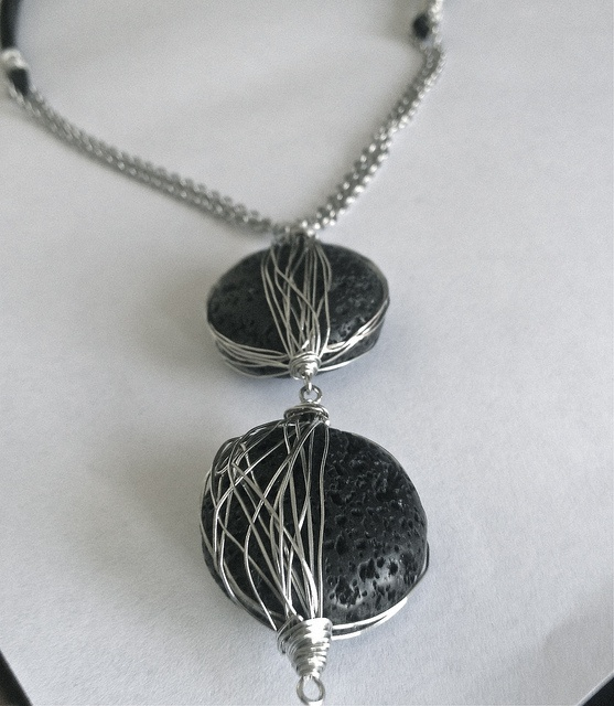 Designs By Alejandra Carazo.   Wear Art! Wired Lava beads, chain and suede leather! https://www.facebook.com/DesignsByAlejandraCarazo?ref=bookmarks