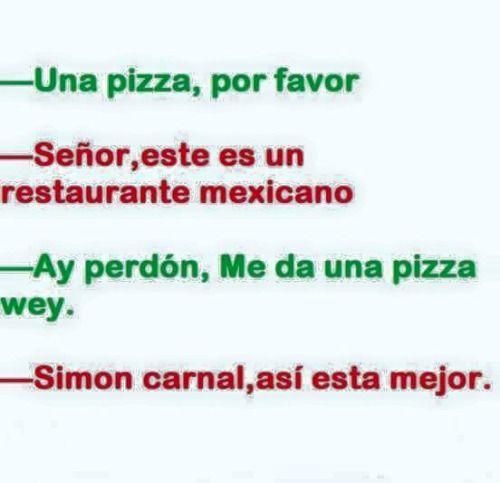 UNA PIZZA POR FAVOR SEÑOR ESTE ES UN RESTAURANTE MEXICANO…