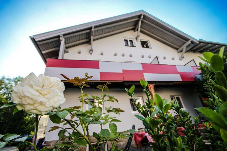 neue Fassade, Garten, Rosen, Blumen, Jugendhotel