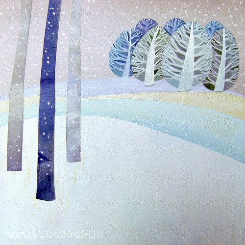 Il canto del bosco - by Tiziana Rinaldi - painting of winter in the woods - love the colors and the trees
