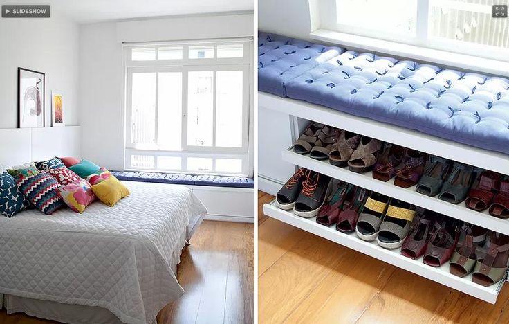 Shoes storage organizer under bench