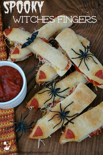 Halloween Food: Spooky Witches Fingers 1 tube of Pillsbury refrigerated breadsticks 1 package pepperoni slices 1 package shredded pizza blend cheese