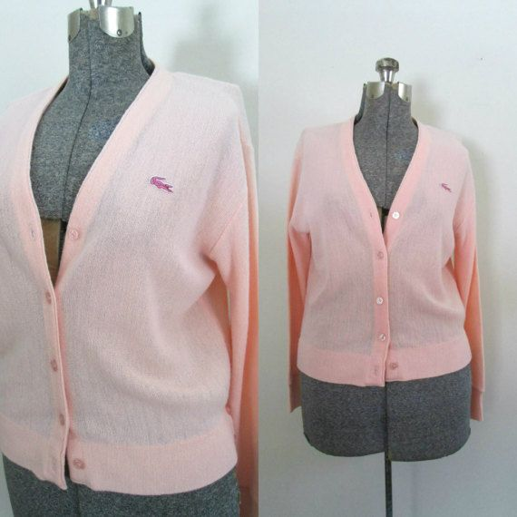 Pink Izod Lacoste Cardigan // 1960s Pastel by rileybellavintage