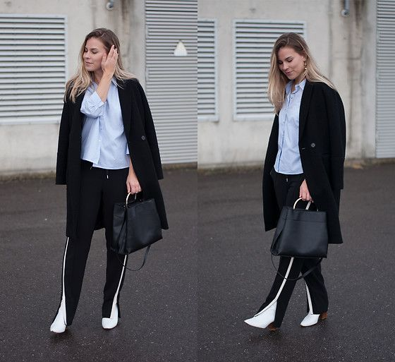 Get this look: http://lb.nu/look/8623879  More looks by Jules V: http://lb.nu/stylebyjules  Items in this look:  H&M Black Coat, Only Striped Shirt, Mango Tote Bag, Vanilia Pull On Trousers, Zara White Ankle Boots   #chic #minimal #street