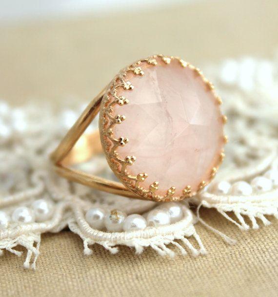 Ring Pink Blush Rose Quartz gemstone feminine jewelry - 14k gold filled powder pink ring