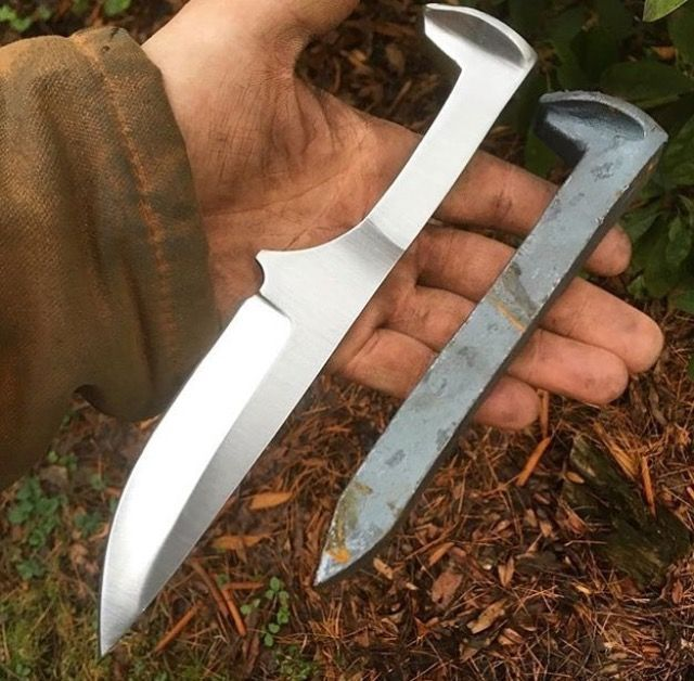 Railroad spike knife
