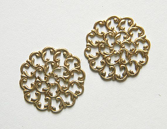 Raw Brass Filigree Round Scalloped Vintage by DecadentBrassGlass