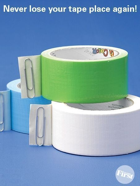 EASY FIX~ Use paperclips or bread tabs to keep tape from sticking.