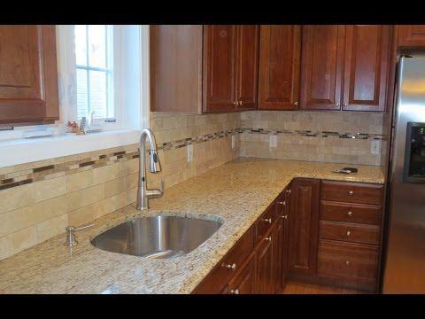 tile kitchen backsplash with a mosaic glass tile border youtube