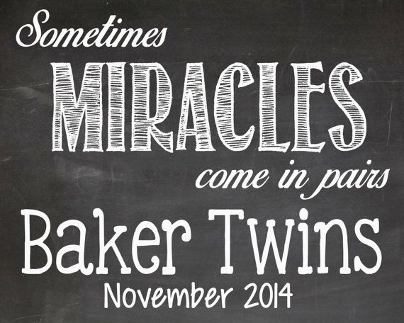 Twins Pregnancy Announcement Chalkboard by LaLaExpressions on Etsy, $7.00