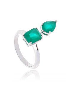 anel com design semi joia zirconia verde leitosa prata