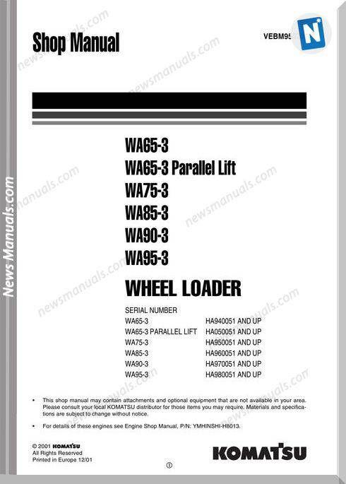 Komatsu Wheel Loader Wa65 95-3 Shop Manual