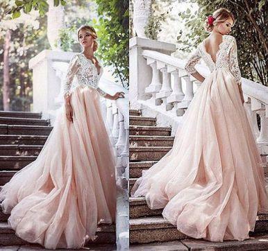 Backless Bridal Dress,Long Sleeve Lace Prom Dress,Custom Made Evening Dress,Sweetheart prom dress,