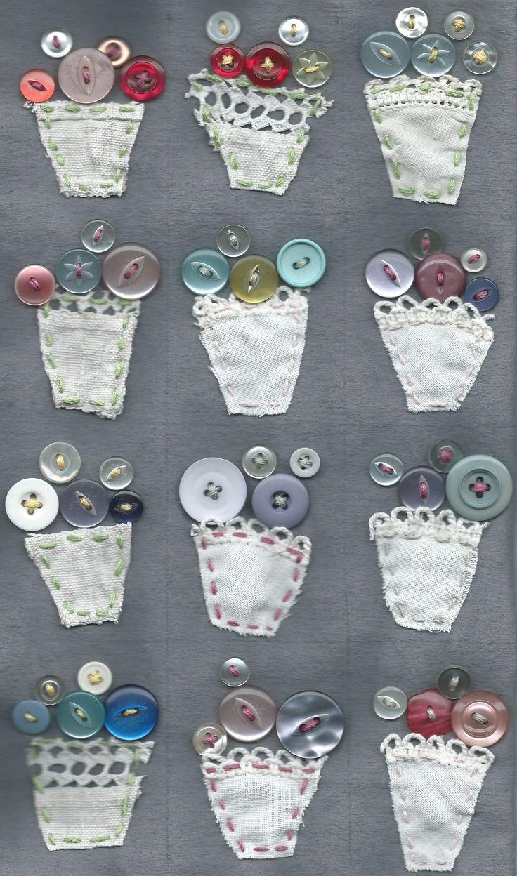 vintage button bouquet vases