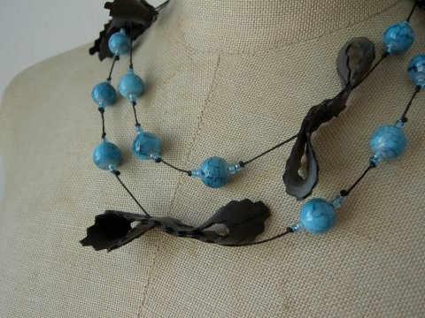 necklace made from bike tubes and beeds