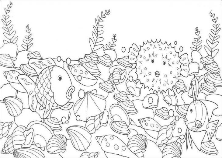 Printable Rainbow Fish With A Puffer Fish Coloring Page | Animal ...