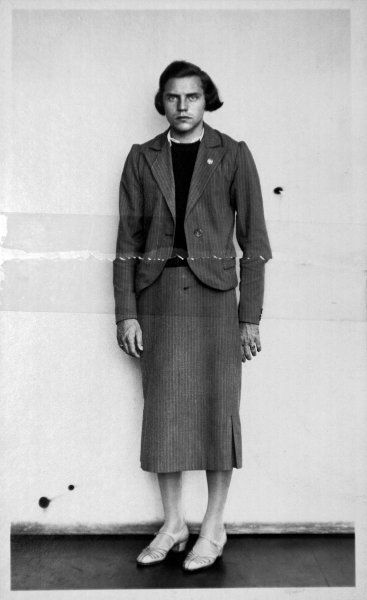 A police photograph of German Olympic athlete Dora Ratjen who had been arrested at a train station on suspicion of being a man in a dress. Magdeburg. Germany. September 21, 1938