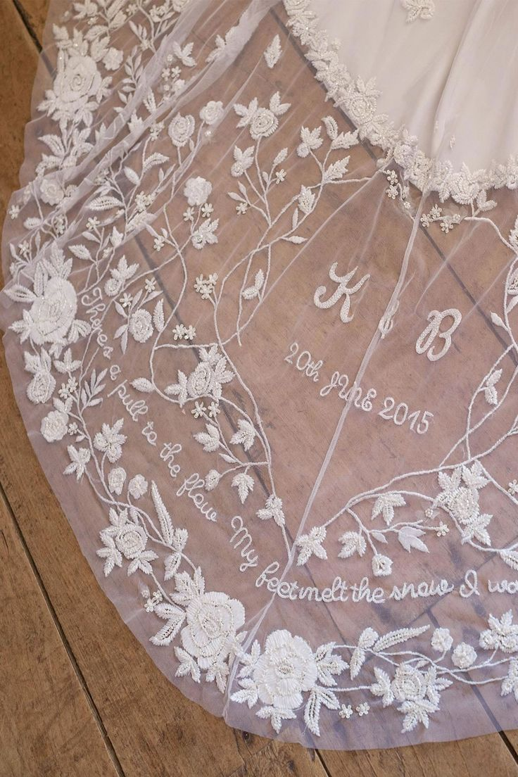 "There's a pull to the flow / my feet melt the snow / I was blindsided — Bon Iver ""Blindsided"" lyrics embroidered on bespoke wedding gown by Hermione de Paula 
