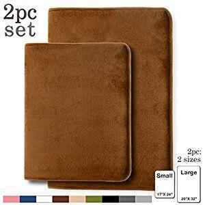 "Memory Foam Bathrug – Chocolate (Brown) Bath Mat, Set Of 2, Large 20"" x 32"", And A Small 17"" x 24"", Non Slip Latex Free Plush Microfiber"