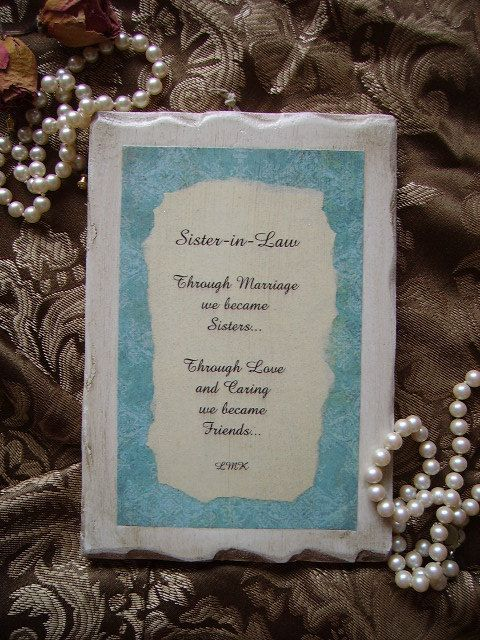 Sister In Law Poems: Sister In Law Plaque Shabby And Chic With Original Poem
