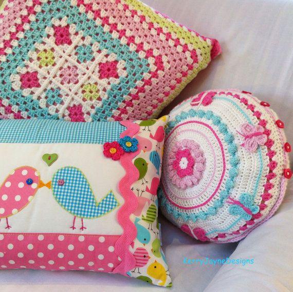CROCHET CUSHION applique pillow white crochet by KerryJayneDesigns