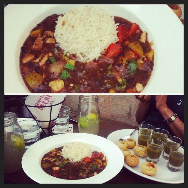 What a combination ... Chinese and Indian Street Food Together :D #rice and #chicken in #blackbeansauce #golgappaas #northindianfav #Chinese #crazyus #birthdaylunch #bestfriendsforever #girliefun #cafedelhiheights #freshlime #delicious #yummy #mouthwatering #craving #foodwelove #instafood #instalove #indianchaat #lifestyleblogger #newdelhi #stylista #stylistalove #sunshinestylista #panipuri #promenade #fun