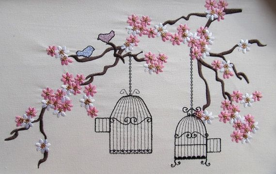 Cherry Blossom mini Birds and cage embroidery files for by artapli, $5.89