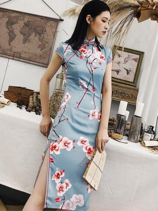 be3263f67 Blue Floral Midi Modern Qipao / Cheongsam Party Dress - CozyLadyWear ...