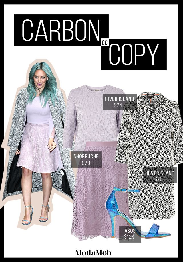 We are dying for Hilary Duff's entire wardrobe from her teal locks to her gorgeous coat. There's no way we can lay her out in lavender. #HilaryDuff #fashion #carboncopy