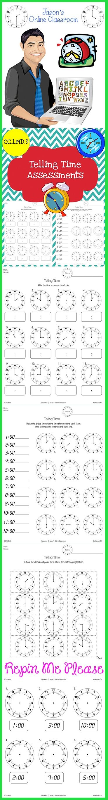 $4 - Common Core Aligned Time Assessments to help students learn how to  tell time.