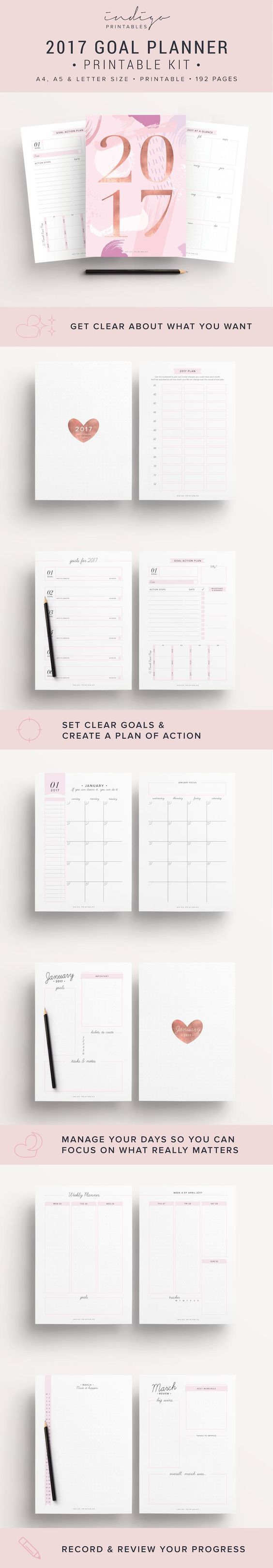 2017 Planner, Goal Planner, Monthly Planner 2017, Weekly Planner 2017, Success Planner, 2017 Inserts, 2017 Printable Planner, 2017 Agenda || 2017 Planner, 192 Printable Pages | Created by #IndigoPrintables