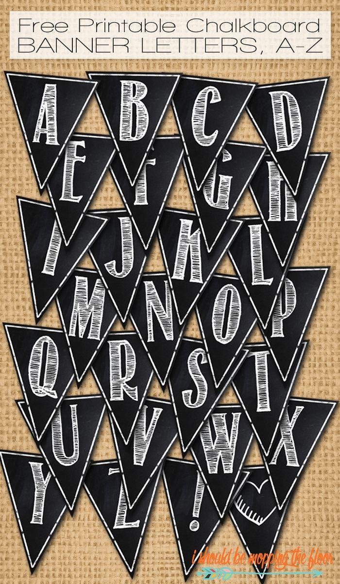 Design banner wisuda - Free Printable Chalkboard Banner Letters A Z