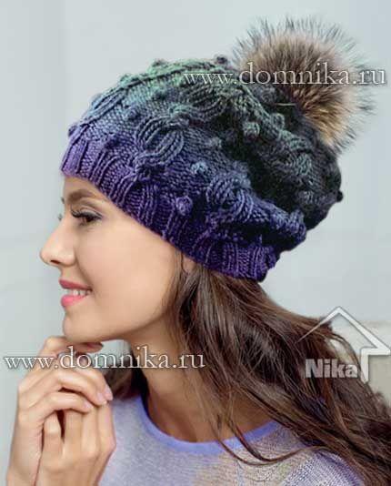 Вязание шапки с косами и шишечками