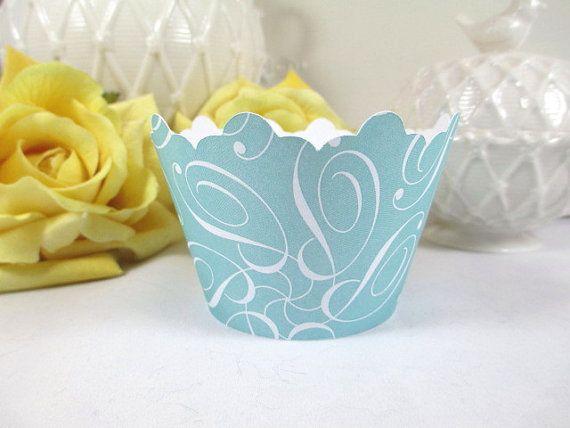 12 Aqua Cupcake Wrappers/ Wedding Cupcake by ImagineandInspire, $9.00