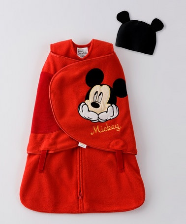 Red Mickey Mouse SleepSack Swaddle & Beanie - Infant