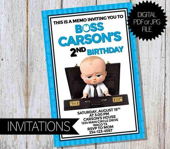 Boss Baby Birthday Party Printable Invitation The Boss Baby Baby Birthday Invitations Boss Baby Birthday Invitation Templates