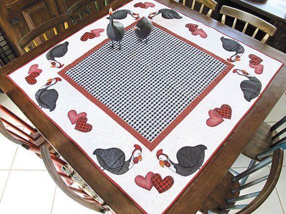 patch aplique em toalhas de mesa | toalha-de-mesa - galinhas - patchwork - patch-apliqué