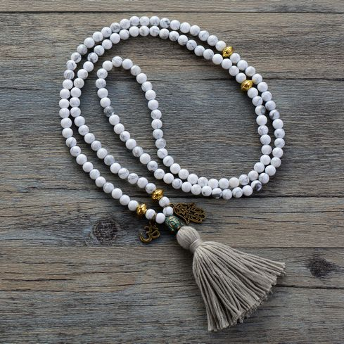 Howlite Charms Long Tassel Beads Necklace