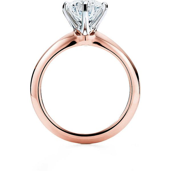 The Tiffany® Setting 18K Rose Gold Engagement Rings | Tiffany & Co. ($12,000) ❤ liked on Polyvore featuring jewelry, rings, engagement rings, red gold jewelry, 18 karat gold ring, rose gold jewelry and rose gold jewellery
