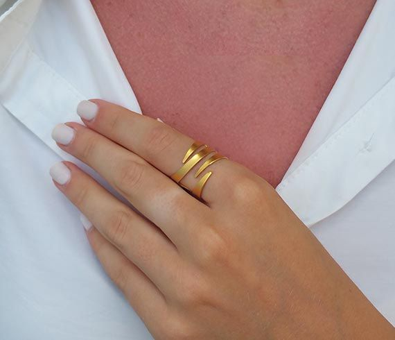 Adjustable ring Gold ring Gold stackable ring by HLcollection