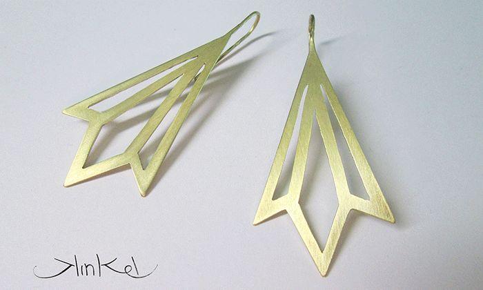 Brass Geometric earrings #brass #statementjewellery