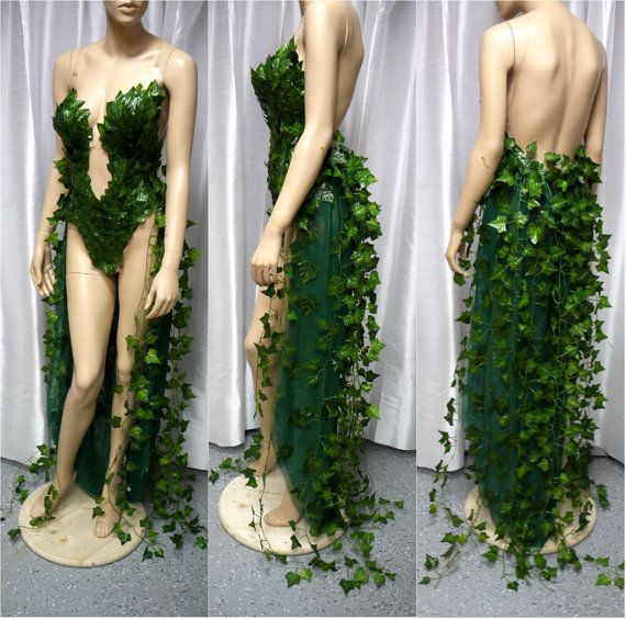 Poison Ivy With Ivy Train Costume, Halloween Costume, Monokini, Fairy Costume, Cosplay, Comicon, Batman Dress Gown