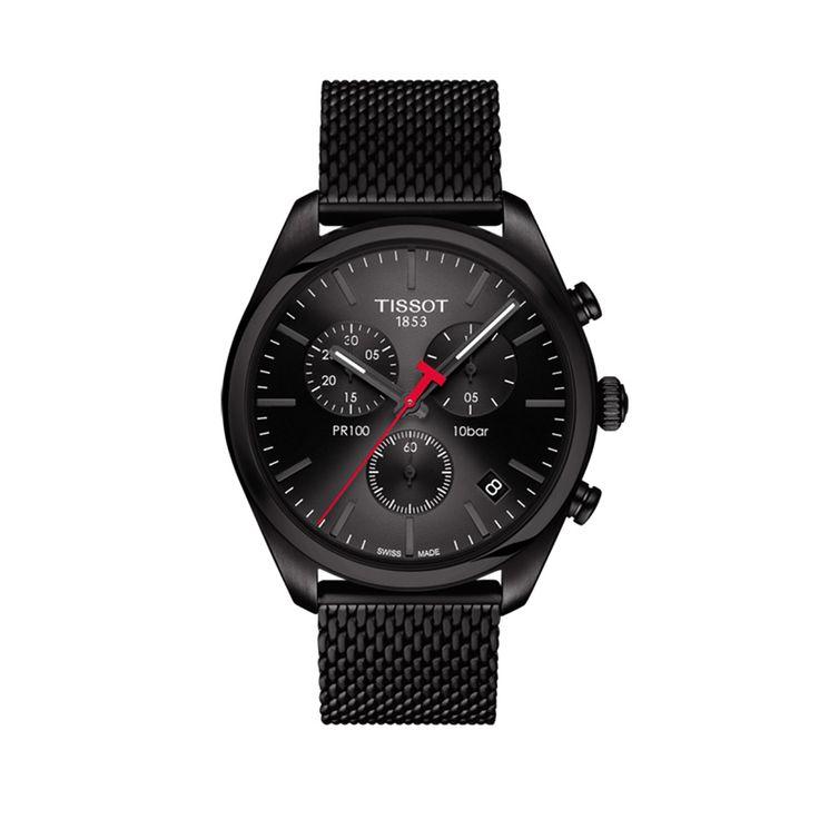 T101.417.33.051.00 Ανδρικό quartz ρολόι TISSOT μοντέλο PR 100 χρονογράφος, με ημερομηνία και μαύρο καντράν | Ρολόγια TISSOT στο Χαλάνδρι ΤΣΑΛΔΑΡΗΣ #tissot #pr100 #χρονογραφος #μαυρο #μπρασελε