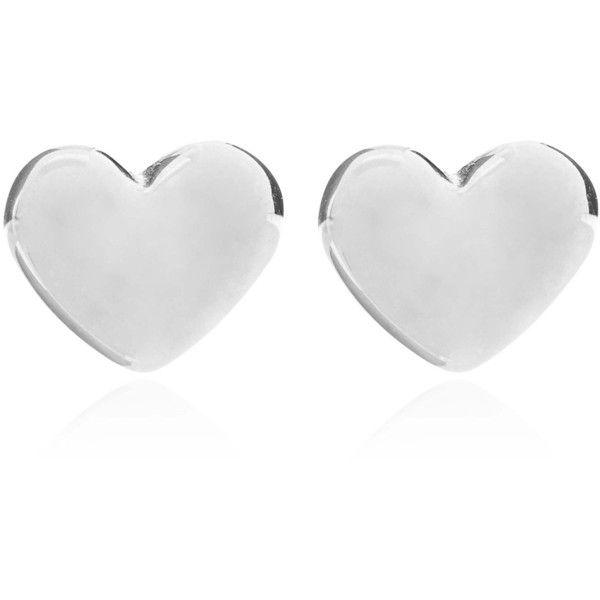 Dinny Hall Silver Bijou Heart Stud Earrings found on Polyvore