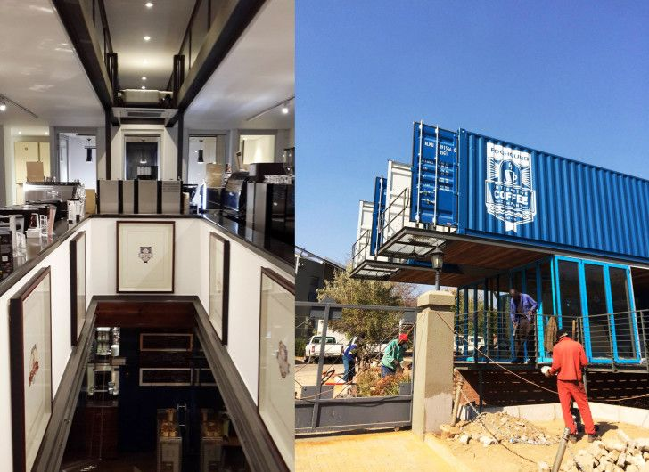 Cantilevered shipping container coffee shop pops up in for Architectural design companies in johannesburg