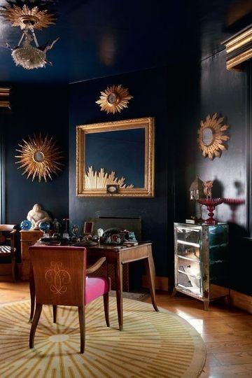 high gloss dark walls navy blue and gold love - Best High Gloss Paint