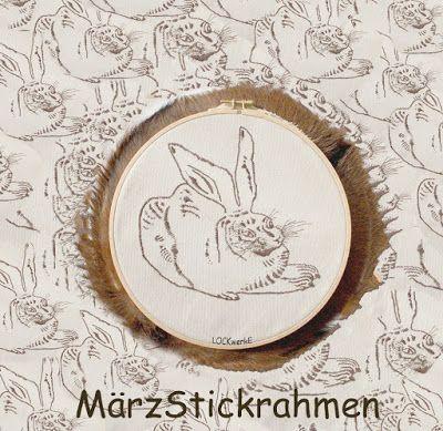 März-Stickrahmen 2016: Feldhase nach Dürer